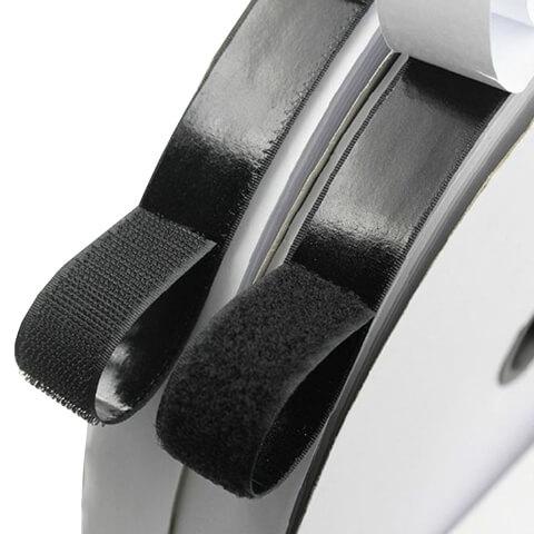 Black Hook and Loop Self Adhesive Fastener Strong Tape