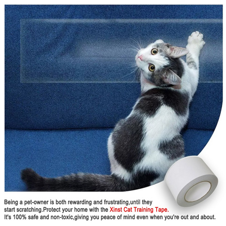 Free sample pet Double sided transparent anti scratch cat training tape 3″ x 30yds furniture protectors