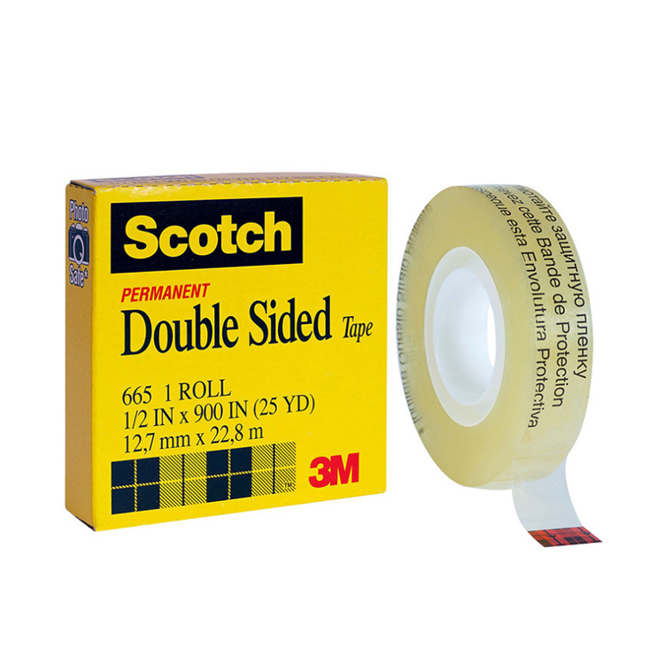 3M 665 Double Sided Tape 1/2″ x 900″ Transparent UPVC Film adhesive tape